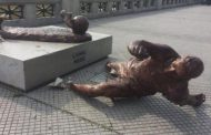 vandalised of messi's statue for the second time this year
